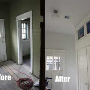 Walls are Benjamin Moore Cloud Cover OC-25. All trim is Benjamin Moore Simply White OC-117.