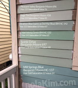 Pleasant Valley, Sage Tint, Stratton Blue, Harrisburg Green, Scenic Drive, Mill Springs Blue all by Benjamin Moore